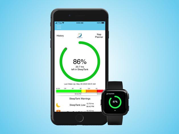 SleepTank Smartwatch App to manage sleep and fatigue.